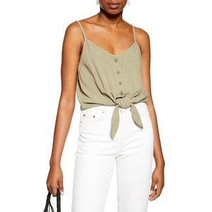 TopShop Polly Tie Front Tank Olive Green Sz 2 NWT
